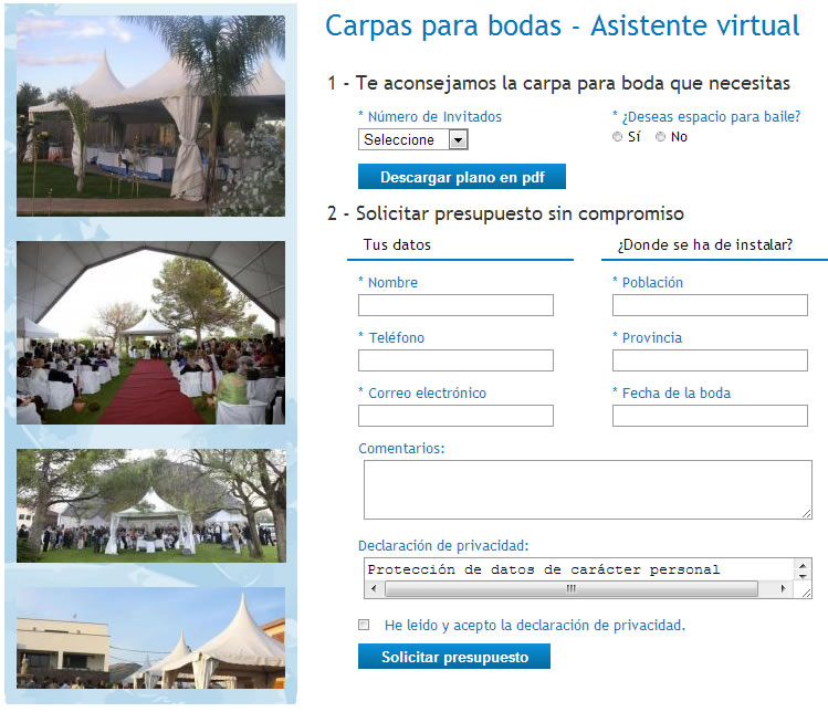 Asistente virtual de carpas para bodas